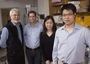 The Johns Hopkins team: Richard Cone, professor of biophysics; Justin Hanes, professor of chemical and biomolecular engineering; Ying-Ying Wang, a biomedical engineering doctoral student; and Samuel Lai, an assistant research professor of chemical and biomolecular engineering