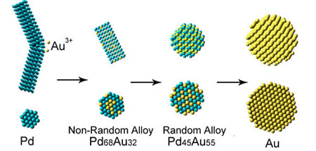 Schematic side view (top) and cross section (bottom) of as-made Pd, Pd68Au32, Pd45Au55, and Au nanomaterial during the galvanic replacement reaction