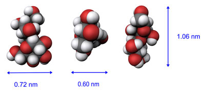 Space filling models of a sucrose molecule seen in the X, Y and Z axis
