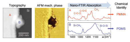 Chemical identification of nanoscale sample contaminations with nano-FTIR