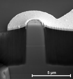 This structure produced at the University of Würzburg using semiconductor material with integrated quantum dot nanostructures emits single photons
