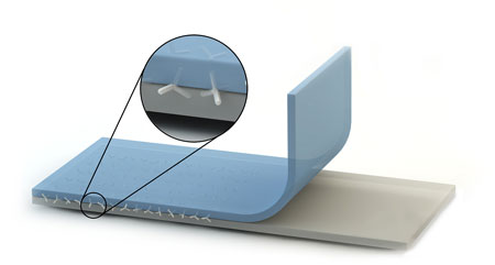two polymer layers are stapled from the inside using nano crystals made of zink oxide