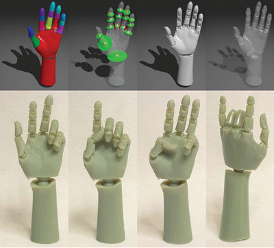 An articulated model based on a 3-D scan of a human hand