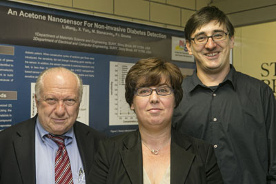 Stony Brook University researchers (from left to right) Sanford Simon, Perena Gouma and Milutin Stanacevic