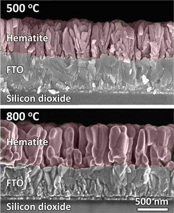 False-color scanning electron micrographs of cross-sectioned hematite films