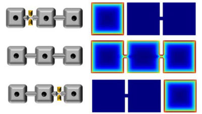 Transport of Majorana particles by switching gate voltages at the constriction junctions