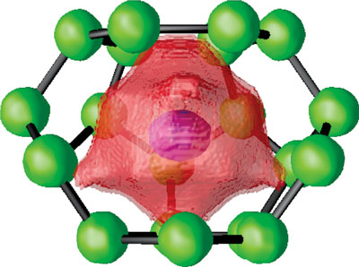 X-ray visualization of the interaction area (red) of a guest atom (pink) surrounded by the cage atoms (green)