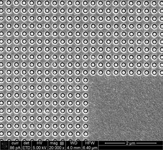 Optical microscope image of a gold metamaterial sample