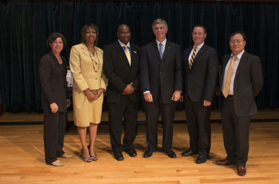Pictured are (from left) Karen A. Stout, Taesha Mapp-Rivera, Darryl P. Conway, UD President Patrick Harker, Andrew T. Hill and Joseph Chen.