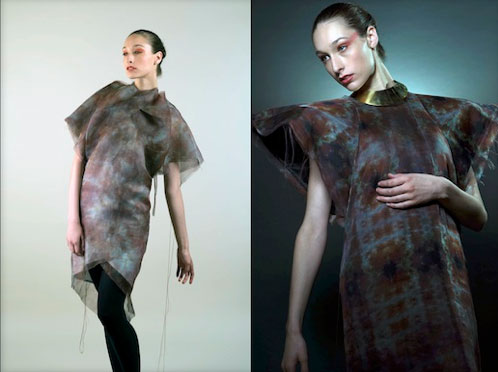 The Shoulder Dress embodies the complexity of the design process when designing for active fibers