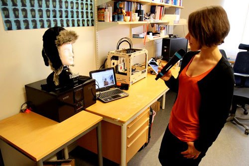 The social robot, Furhat, converses with PhD student Catharine Oertel