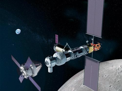Artist's illustration of NASA's Orion spacecraft (left) approaching the Gateway in lunar orbit