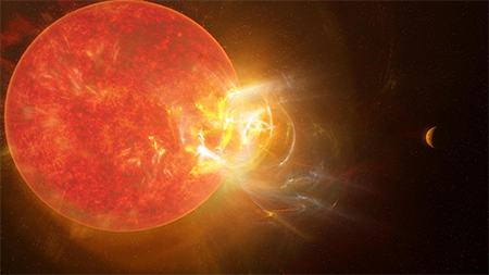 Artist's conception of a violent flare erupting from the star Proxima Centauri
