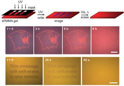Writing into self-erasable nanoparticle films