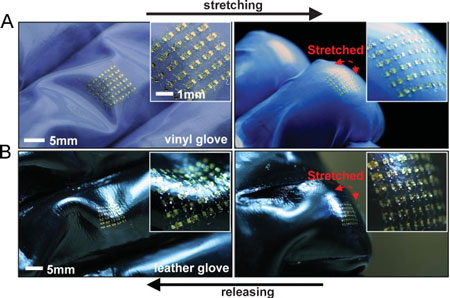 Optical images of CMOS circuits on finger joints of vinyl and leather gloves