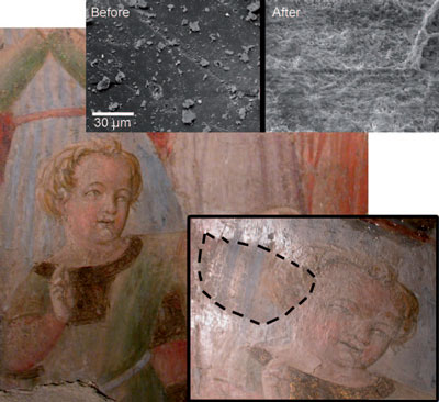 wall painting restored with nanodroplet microemulsion