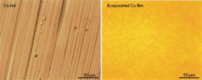 Side by side comparison of growths on a copper foil (left) and an evaporated copper thin film