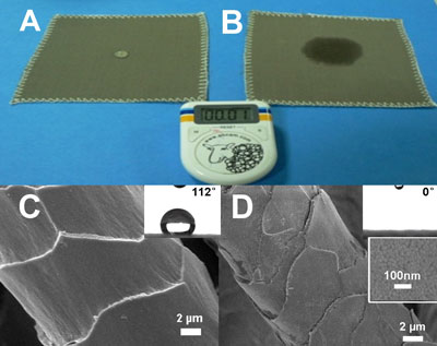 SEM images of wool fibers coated with silica nanoparticles of different diameters