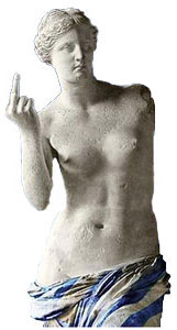 Venus of Milo shows the finger