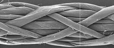 Magnified carbon nanotube woven yarn