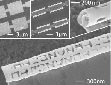 Nanostructures such as rings and scrolls with the letters JHU and NANOJHU patterns on them