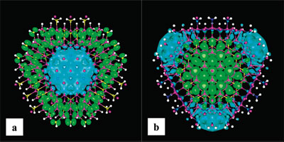 Cross-section views of charge distributions of the CBM electron state and VBM hole state in core-shell nanowires