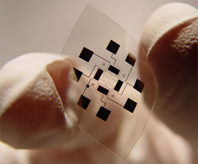 Photograph of the flexible sensor chip
