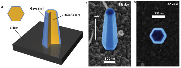 InGaAs/GaAs heterostructure nanopillar lasers monolithically grown on silicon