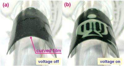 Paperlike thermochromic display not affected by mechanical distortion