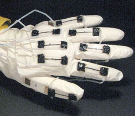 strain sensors fixed to glove