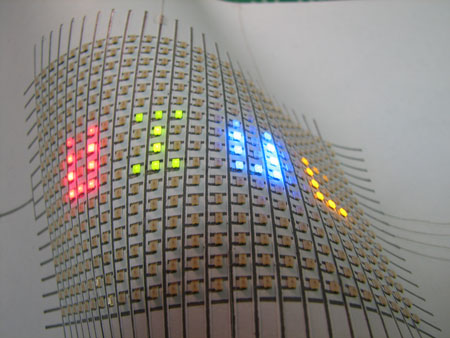 Optical image of a flexible paper display containing a LED array (25 � 16) on a Xerox paper