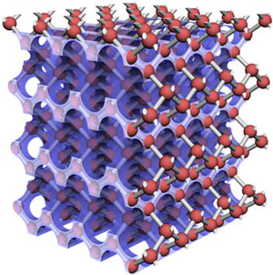 Model of a diamond structure superimposed on a 3D artificial diamond structure in silicon