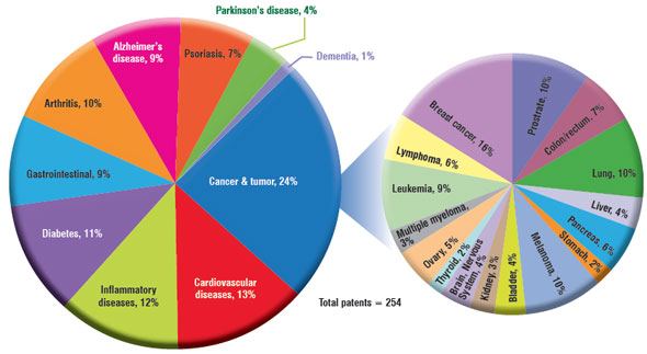 Segmentation of nano-based curcumin applications in different types of diseases and cancers
