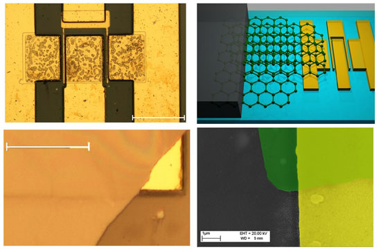 graphene quilt on gallium-nitride transistor