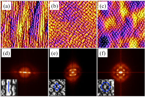 AFM images of laterally ordered quantum rings fabricated on different substrates
