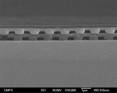 Doubly stacked nanostructured layers on silicon wafer