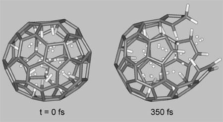 Ab initio molecular dynamics simulations of breaking C60 nanocage