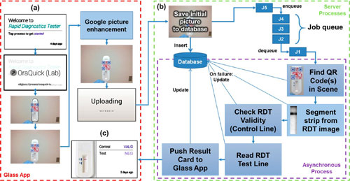 rapid diagnostic test imaging and processing workflow done by the Google Glass application