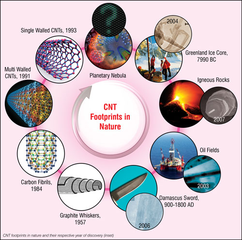 Carbon nanotube footprints in nature and their respective year of discovery