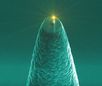 a molecule lighting up close to a nano-antenna