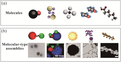 Different types of molecules and corresponding molecular-type assemblies