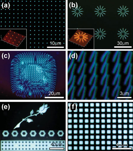 Patterned light-emitting nanostructures and microstructures