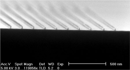 Lines with a width of 15 nm defined in the resist