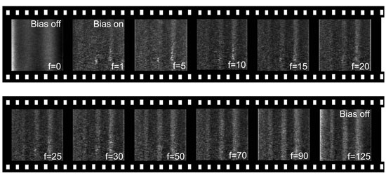 Frames from a movie capturing the growth of three lines of silicon oxide in real-time