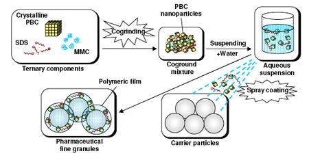 A schematic representation of the preparation of pharmaceutical fine granules containing probucol nanoparticles